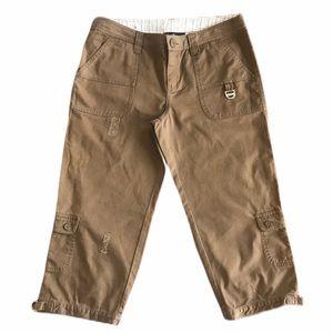 Hurley women chestnut cargo Capri pants 7